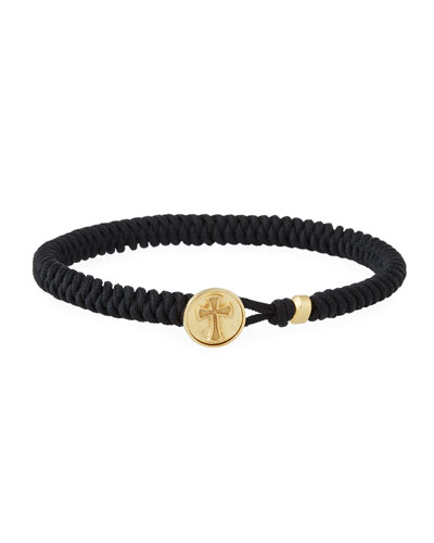 Men's 18k Gold Cross Button Woven Bracelet