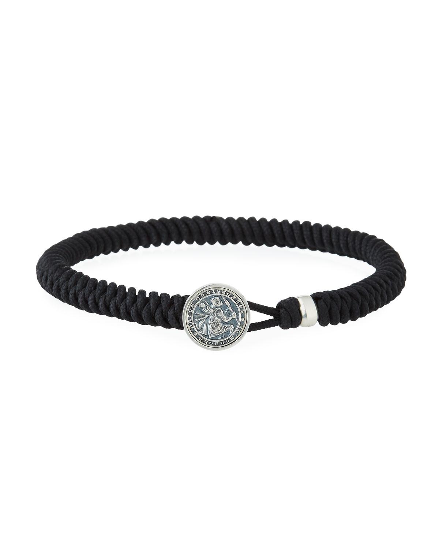 Men S St Christopher On Woven Bracelet