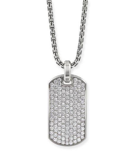 David Yurman Men's Streamline Silver Dog Tag with Diamonds, 35mm