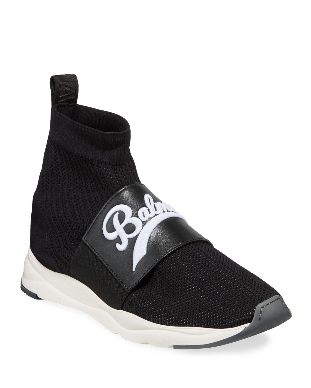 Balmain Men S Cameron Pull On Logo Sock Running Sneakers