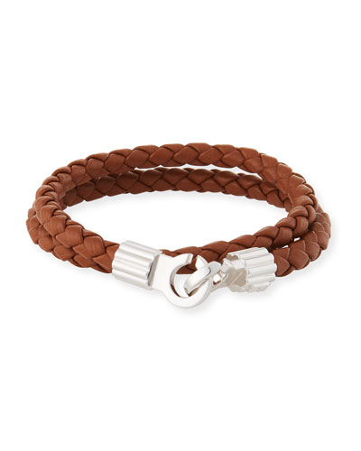 Men's Braided Napa Leather Bracelet  Brown/Silver