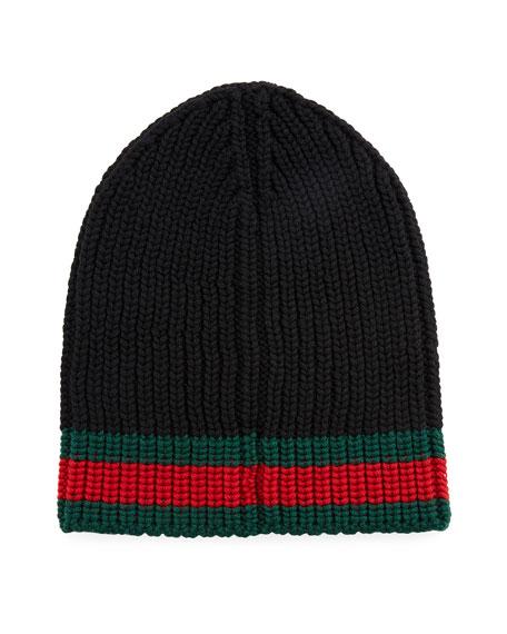 1c45e669 Gucci Wool Beanie Hat w/Web | Neiman Marcus