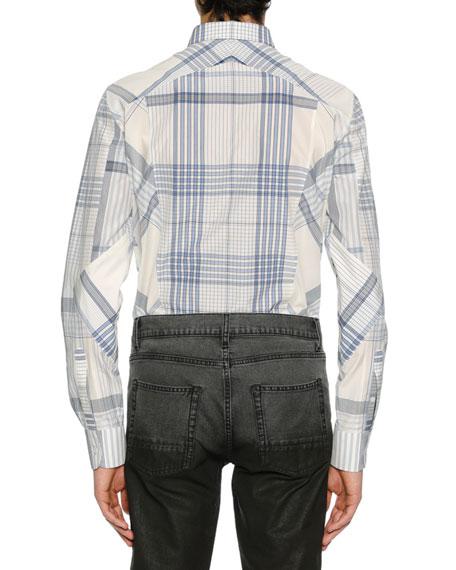 Alexander McQueen Men's Pieced Plaid Sport Shirt