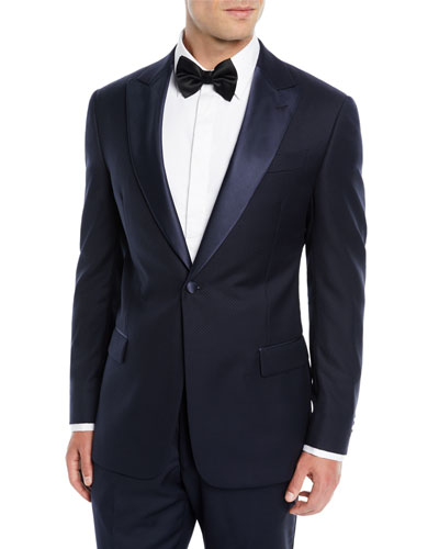 Two-Piece Wool Tuxedo with Satin Peak Lapel  Navy