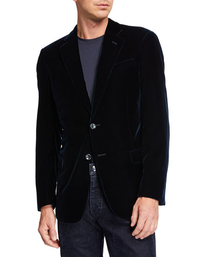Men's Velvet Two-Button Sport Coat Jacket, Navy