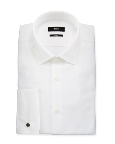 Men's Slim Fit French-Cuff Textured Dress Shirt