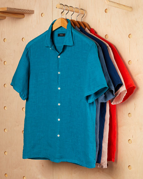 Image 2 of 3: Men's Irving Summer Linen Short-Sleeve Sport Shirt