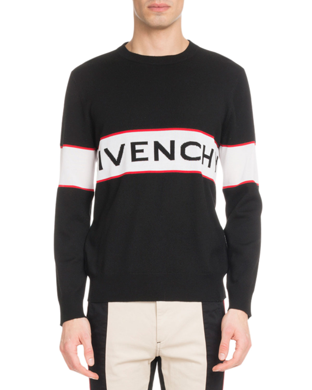 b8c6dbea1 Givenchy Men's Bar Logo Light Wool Sweater   Neiman Marcus
