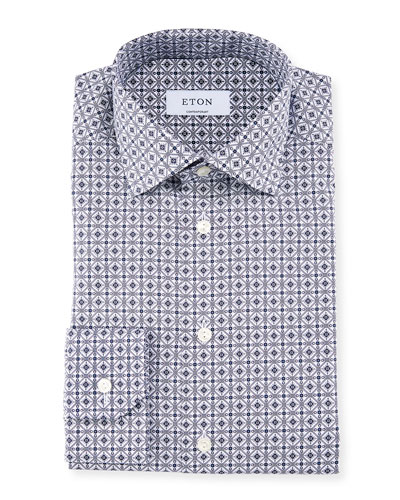 Men's Contemporary Tile-Print Dress Shirt