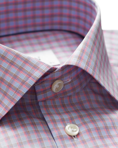 Men's Slim-Fit Tattersall Cotton Dress Shirt