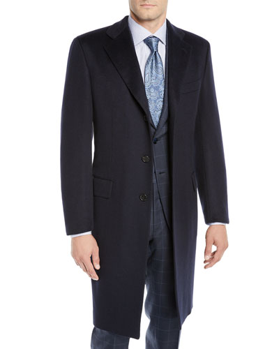 Men's Single-Breasted Cashmere Top Coat
