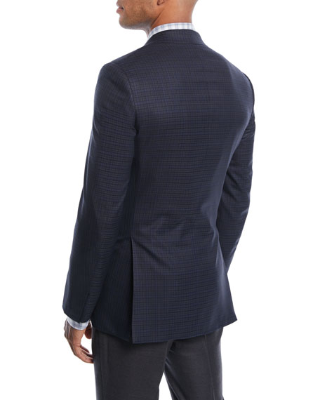 Check Wool Two-Button Jacket