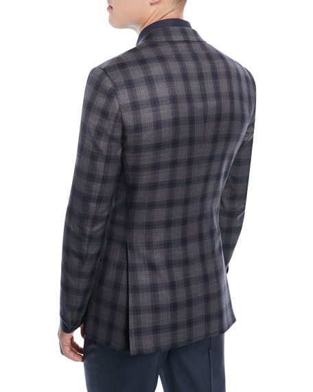 Two-Tone Plaid Two-Button Sport Jacket