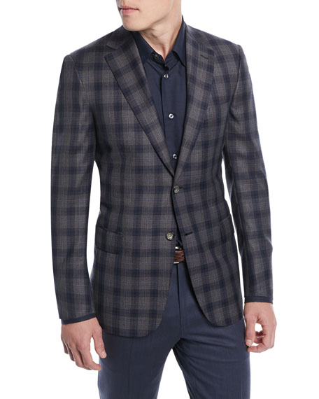 BRIONI Two-Tone Plaid Two-Button Sport Jacket in Gray