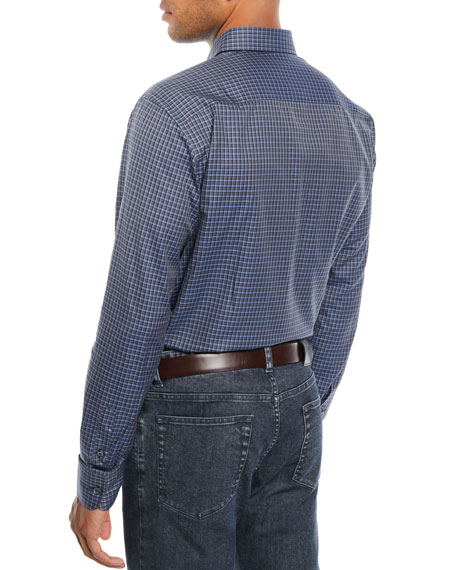 Brioni Men's Check Cotton Sport Shirt, Blue