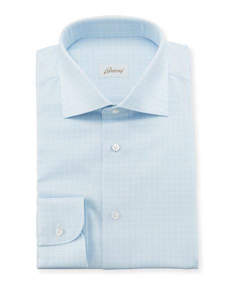 Brioni Men's Tonal Graph Check Dress Shirt