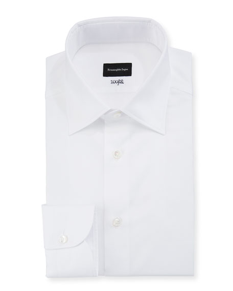Image 1 of 2: Men's 100Fili Cento Solid Poplin Dress Shirt, White