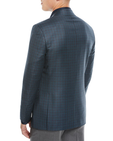 Canali Men's Super 130s Wool Check  Two-Button Jacket