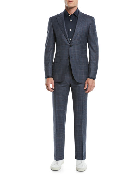 Men's 130s Wool Plaid Two-Piece Suit
