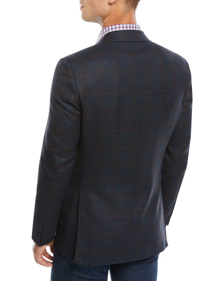 Canali Men's 120s Wool Textured Plaid Two-Button Sport Coat Jacket