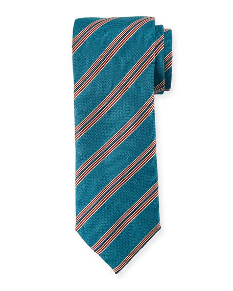 Canali Textured Stripe Silk Tie, Aqua