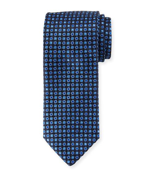 Canali Lattice Box Silk Tie, Navy Blue
