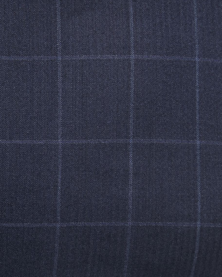 Men's Windowpane Two-Piece Wool-Silk Suit