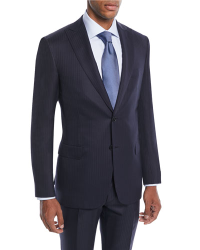 Men's Tonal Stripe Wool-Silk Two-Piece Suit