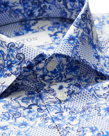 Men's Lisbon Slim-Fit Floral-Print Dress Shirt