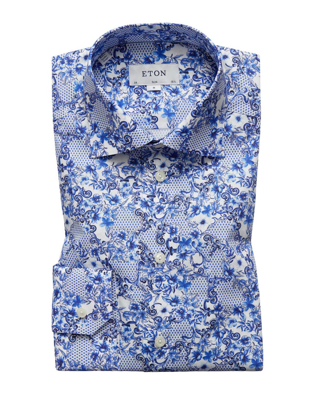 8ea8b49b2e36 Eton Men s Lisbon Slim-Fit Floral-Print Dress Shirt