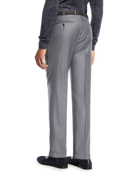 Trofeo Wool Flat-Front Trousers, Gray