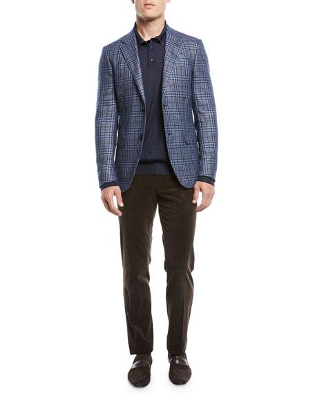 Men's Flat-Front Cotton/Cashmere Corduroy Trousers, Brown