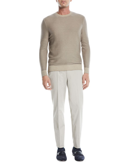 Ermenegildo Zegna Men's Flat-Front Cotton/Cashmere Chino Pants