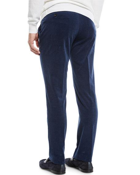 Ermenegildo Zegna Men's Flat-Front Cotton/Cashmere Corduroy Trousers, Navy