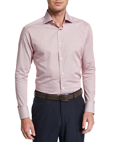 Ermenegildo Zegna Men's Micro Stripe Long-Sleeve Collared Shirt