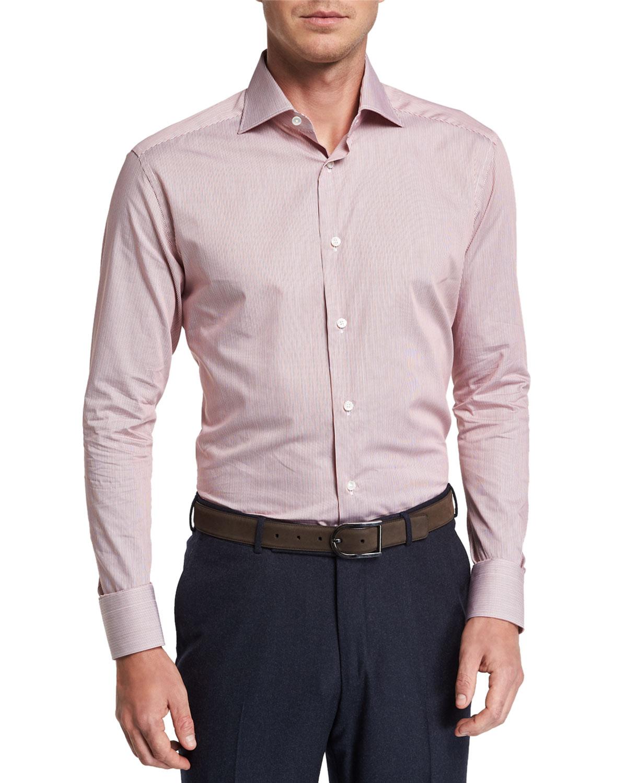 29839a8d20d Ermenegildo Zegna Men s Micro Stripe Long-Sleeve Collared Shirt ...