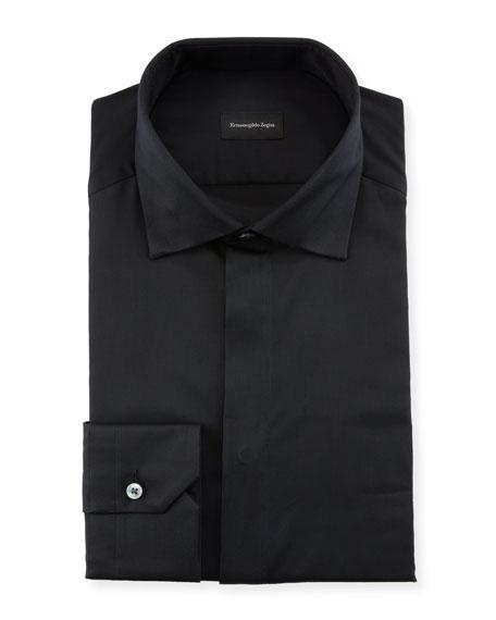 Ermenegildo Zegna Men's Hidden-Button Covered Placket Formal Shirt