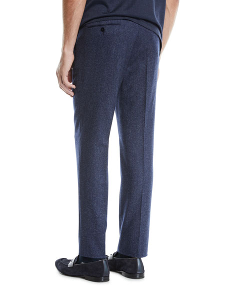 Ermenegildo Zegna Men's Melange Wool Straight-Leg Pants, Blue