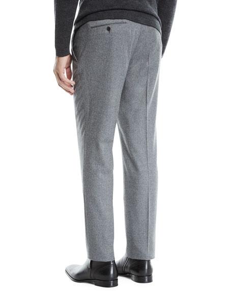 Ermenegildo Zegna Men's Melange Wool Straight-Leg Pants, Gray