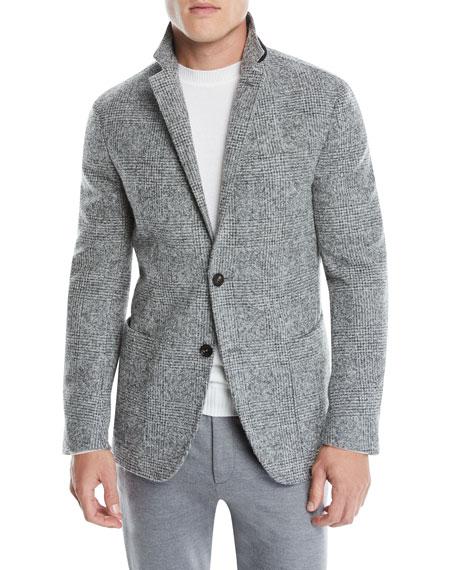 b547fac4 Men's Two-Button Plaid Alpaca/Wool Blazer Jacket in Grey