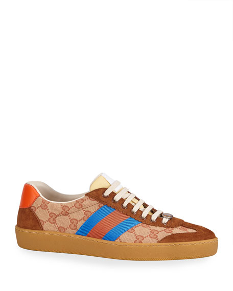 Original Gg Canvas And Suede Trainers, Brown