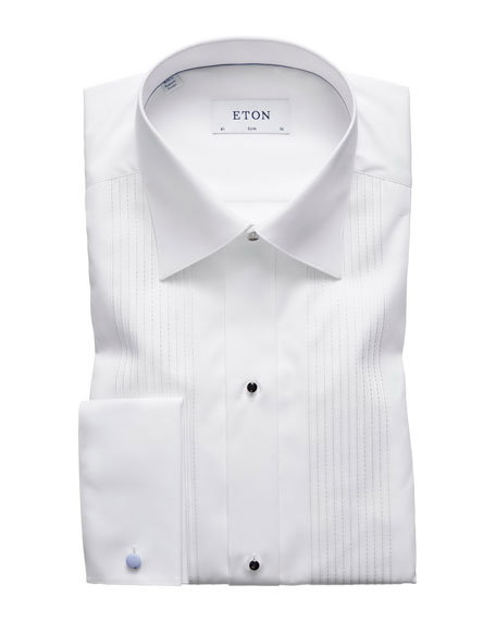 Men's Slim-Fit Bib-Front Tuxedo Shirt with Metallic Detail