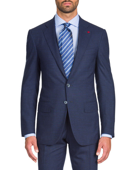Men's Wool-Stretch Tonal Check Two-Piece Suit