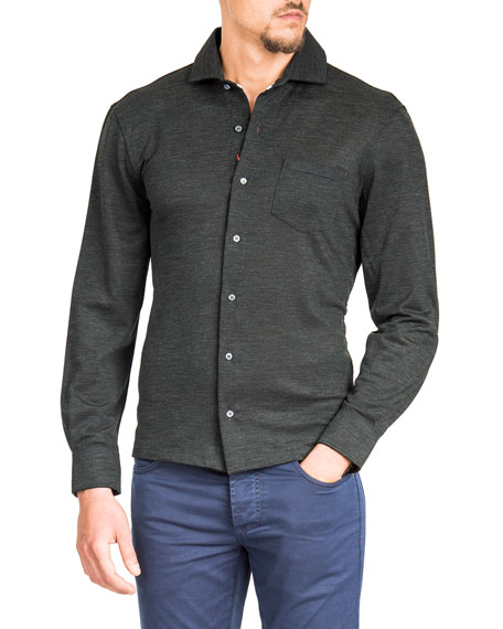 Men's Merino Wool Piqué Long-Sleeve Pocket Shirt