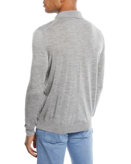 Kiton Men's Long-Sleeve Wool Polo Sweater