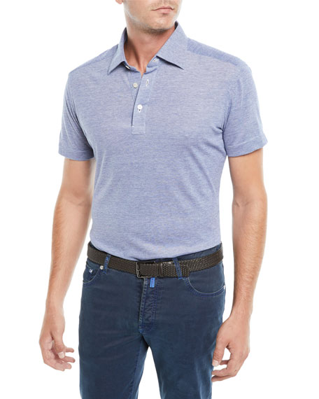 KITON Men'S Oxford Heathered Polo Shirt in Blue
