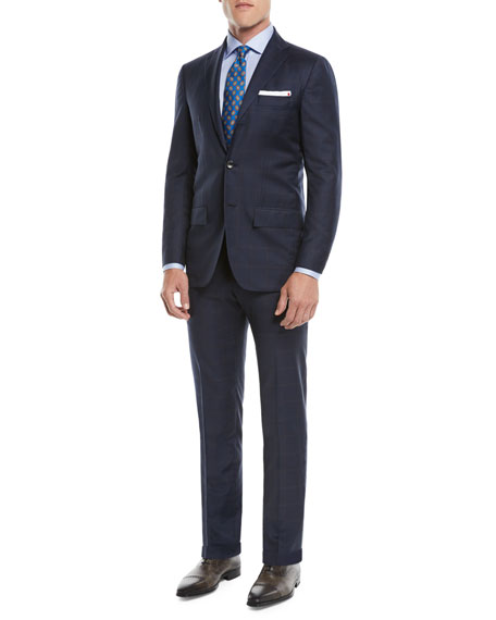 Men's Two-Piece Three-Button Wool Plaid Suit