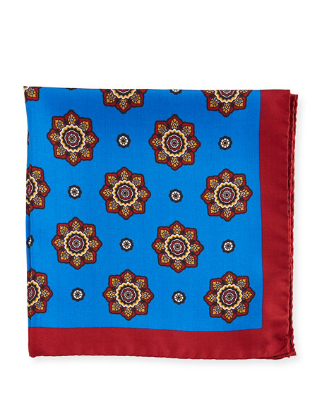 Large Medallion Silk Pocket Square