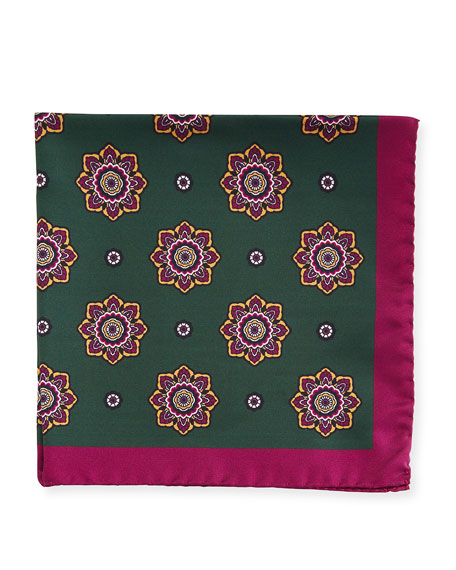 Kiton Large Medallion Silk Pocket Square