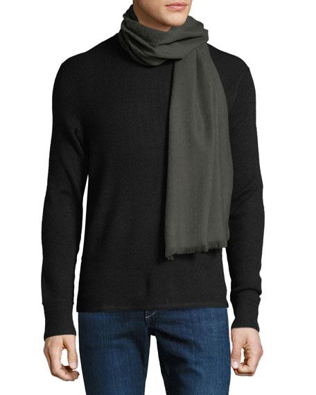 Salvatore Ferragamo Men's Solid Wool Fringed Scarf
